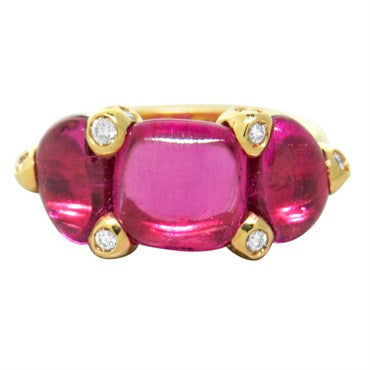 image of New Pomellato Sassi 18k Gold Pink Tourmaline Diamond Ring