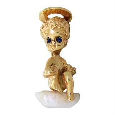 thumbnail image of Ruser 14K Gold Pearl Sapphire Angel Brooch