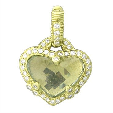 image of Judith Ripka 18K Yellow Gold Canary Crystal Diamond Heart Pendant