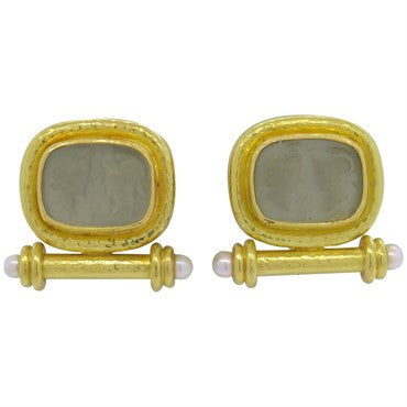 thumbnail image of Elizabeth Locke Venetian Glass Intaglio Pearl 18k Gold Earrings