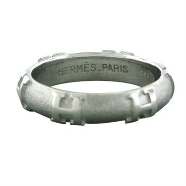 image of Hermes 18K White Gold Sandblasted Finish H Logo Band Ring