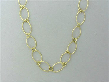 image of Slane & Slane 18K Yellow Gold Skinny Oval Link Beaded Necklace