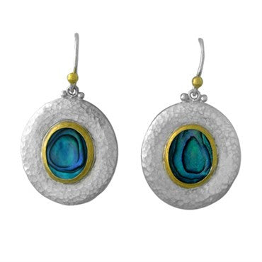 thumbnail image of New Gurhan 24K Gold Sterling Silver Blue Paua Shell Drop Earrings