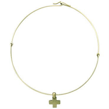 image of New Pomellato 18k Gold Satin Finish Cross Pendant Necklace