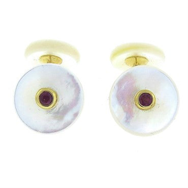 thumbnail image of Trianon Mother of Pearl Ruby Gold Cufflinks