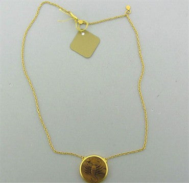 thumbnail image of New Gurhan 24K Yellow Gold Tiger Eye Scorpio Zodiac Pendant Necklace