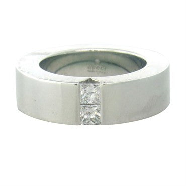 image of Gucci 18k White Gold Diamond Band Ring
