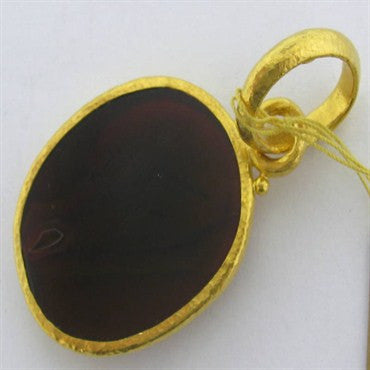 image of New Gurhan 24k Gold Carved Gemstone Pendant