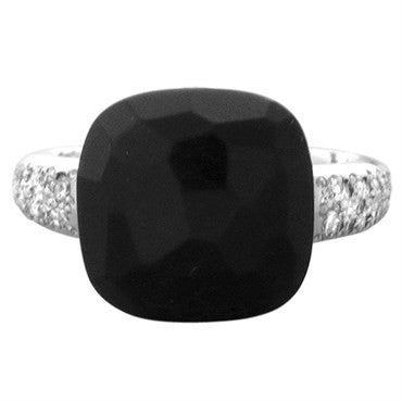 image of New Pomellato Capri 18k Gold Diamond Onyx Ring