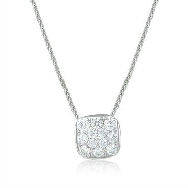 thumbnail image of New Hearts On Fire Silk Pave Square Diamond Pendant Necklace