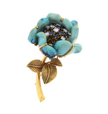 thumbnail image of Exquisite French Turquoise Diamond Sapphire 18k Gold Flower Brooch