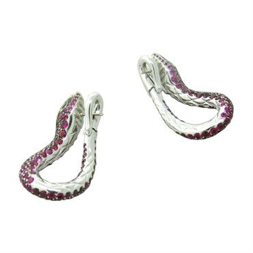 image of Boucheron Kaa Snake Ruby Emerald Earrings