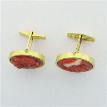 image of Estate Elan 18k Gold Coral Cufflinks