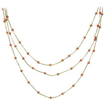 thumbnail image of Antique Victorian Coral Bead 14k Gold Multi Strand Necklace