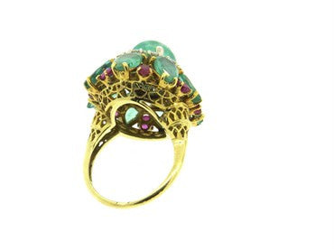 image of 1960s Impressive Emerald Ruby Diamond 18k Gold Cocktail Ring