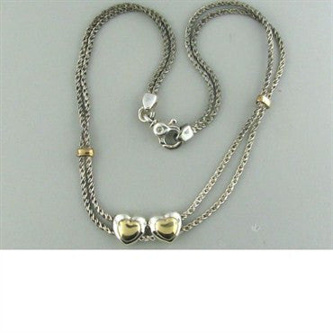 image of Estate Tiffany & Co Sterling Double Heart Necklace