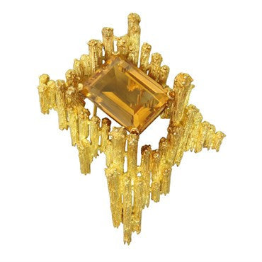 image of 1970s H. Stern Citrine 18K Gold Brooch Pin