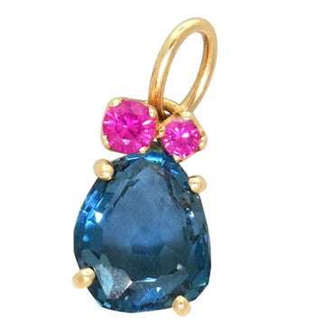 image of New Pomellato Bahia 18k Gold Blue Topaz Gemstone Charm Pendant