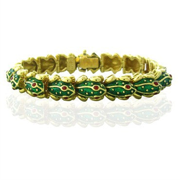 image of Hidalgo 18K Yellow Gold Ruby Green Enamel Frog Bracelet