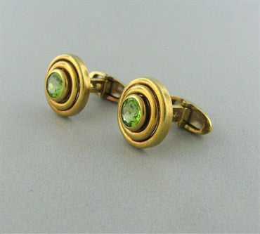 thumbnail image of Estate Tiffany & Co 18K Gold Peridot Cufflinks