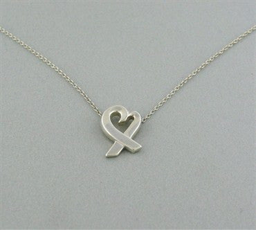 thumbnail image of Tiffany & Co. Paloma Picasso Sterling Loving Heart Pendant Necklace