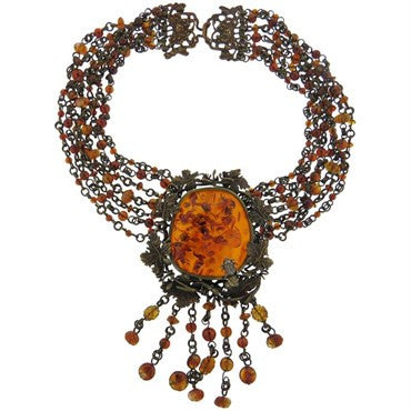 image of Stephen Dweck Bronze Amber Multi Strand Necklace