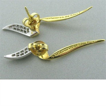 image of Vintage Tiffany & Co Picasso 18k Gold Diamond Earrings