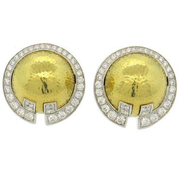 image of Important David Webb 3.40ctw Diamond 18k Gold Platinum Earrings