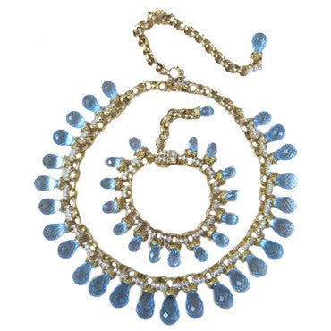 image of Laura Munder Blue Topaz Briolette Diamond Gold Necklace Bracelet Suite