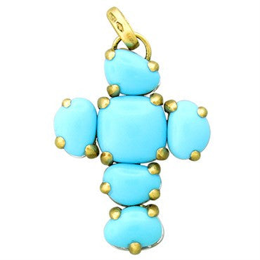 image of New Pomellato Capri 18k Gold Turquoise Quartz Cross Pendant