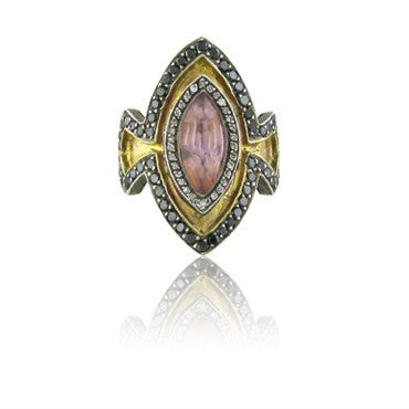image of Rare Sevan Bicakci Sterling 24K Gold Diamond Carved Tourmaline Ring