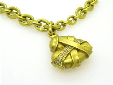 thumbnail image of Massive Kieselstein Cord Diamond Gold Toggle Necklace Heart Pendant