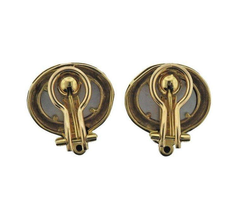 image of Elizabeth Locke Venetian Glass Intaglio Onyx Gold Earrings