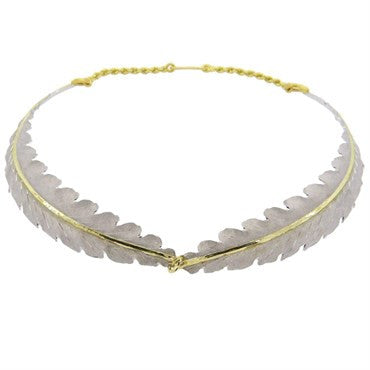 image of Buccellati Foglia Quercia Sterling 18k Gold Leaf Motif Necklace