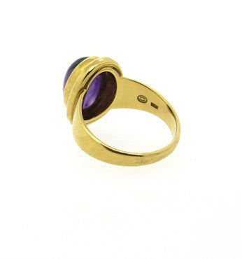 thumbnail image of Georg Jensen 18k Gold Amethyst Cabochon Ring