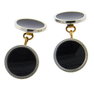 thumbnail image of Art Deco 1920s Onyx 14k Gold Platinum Cufflinks