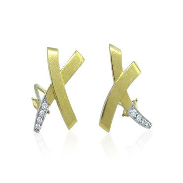 image of Tiffany & Co Picasso X 18k Platinum Diamond Earrings
