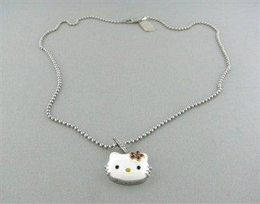 image of Hello Kitty Kimora Lee Simmons Sterling Gold Gemstone Diamond Necklace