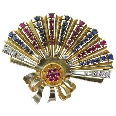 image of Retro Sapphire Ruby Diamond 18K Gold Fan Brooch Pendant