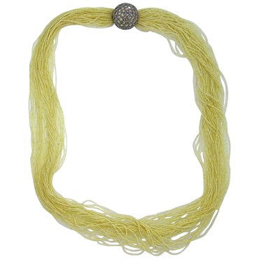 image of Stunning Seed Pearl Multi Strand Necklace Diamond Gold Clasp