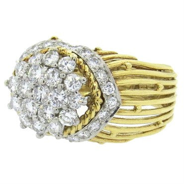 thumbnail image of Hammerman Brothers Diamond Gold Platinum Dome Ring