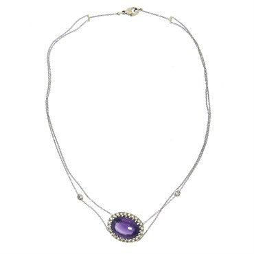 thumbnail image of Renee Lewis Amethyst Diamond Gold Pendant Necklace