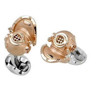 image of Deakin & Francis Sterling Silver Diving Helmet Cufflinks