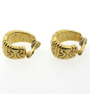 thumbnail image of Large Bvlgari Bulgari Parentesi 18k Gold Hoop Earrings