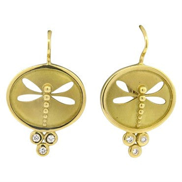 image of Temple St. Clair 18K Gold Diamond Dragonfly Earrings