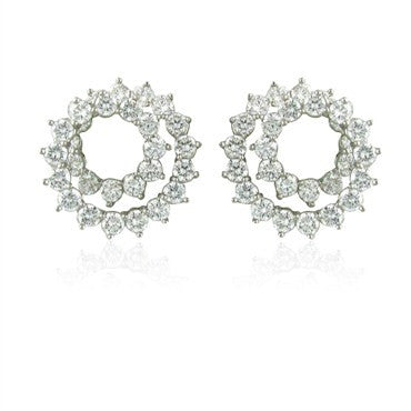 image of Tiffany & Co Platinum 2.54ctw Diamond Swirl Ear Clips Earrings