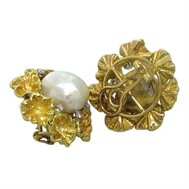 thumbnail image of Spritzer & Fuhrmann 18k Gold Diamond Baroque South SeaPearl Earrings