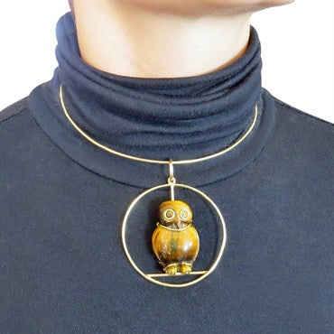 image of 1970s Seaman Schepps Gold Tiger's Eye Owl Pendant Necklace