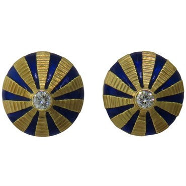image of Jean Schlumberger Tiffany & Co. Taj Mahal Enamel Diamond Gold Earrings