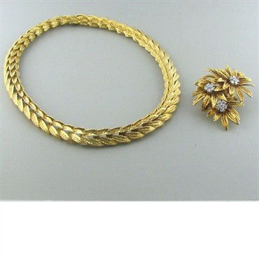 image of Vintage J.E. Caldwell 18k Gold Diamond Necklace Brooch